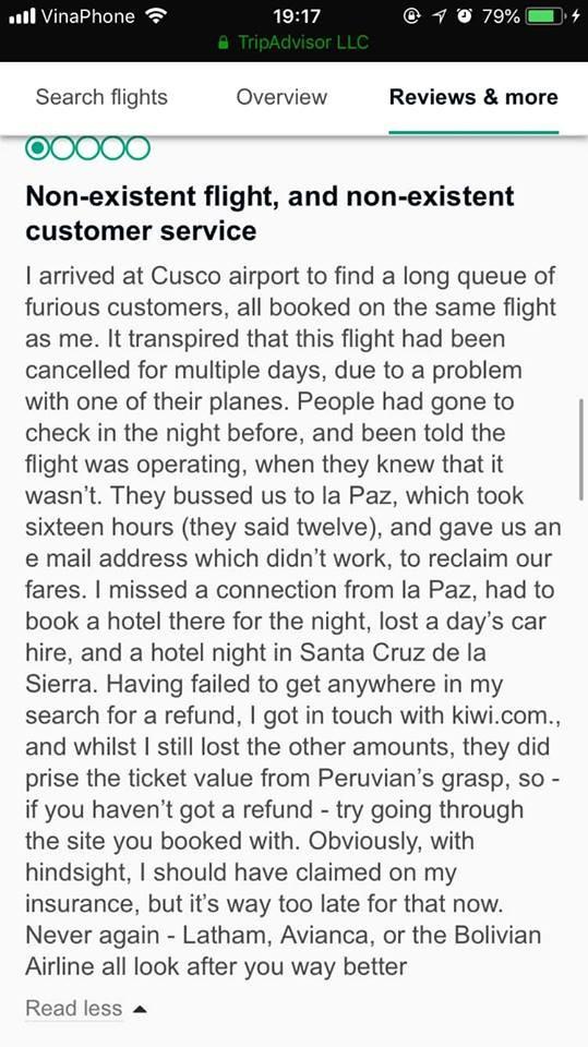 CẢNH BÁO: #PERUVIAN AIRLINE có dấu hiệu làm ăn không trung thực và có dấu hiệu lừa đảo